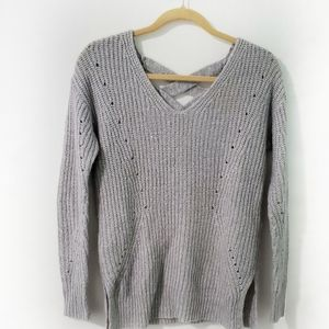It's Our Time Chunky Knit Back Lace Up Sweater XS